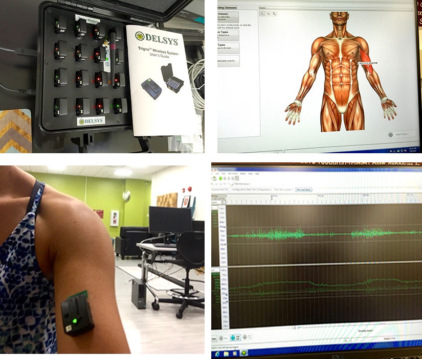Top: Delsys sEMG system with 16 wireless electrodes (left), sEMG data acquisition software (right); Bottom: Application of sEMG sensor on muscle of interest (left), electrical activity, and tri-directional accelerations, of the muscle (right)
