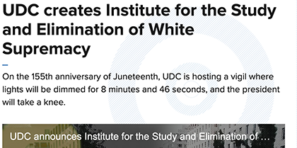 UDC creates Institute for the Study and Elimination of White Supremacy Image